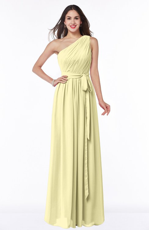 ColsBM Fiona Soft Yellow Classic A-line Asymmetric Neckline Chiffon Floor Length Sash Plus Size Bridesmaid Dresses