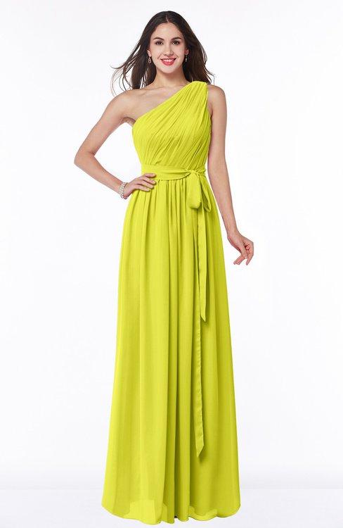 ColsBM Fiona Sulphur Spring Classic A-line Asymmetric Neckline Chiffon Floor Length Sash Plus Size Bridesmaid Dresses