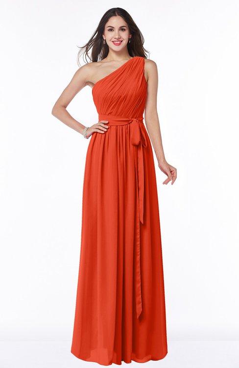 ColsBM Fiona Tangerine Tango Classic A-line Asymmetric Neckline Chiffon Floor Length Sash Plus Size Bridesmaid Dresses