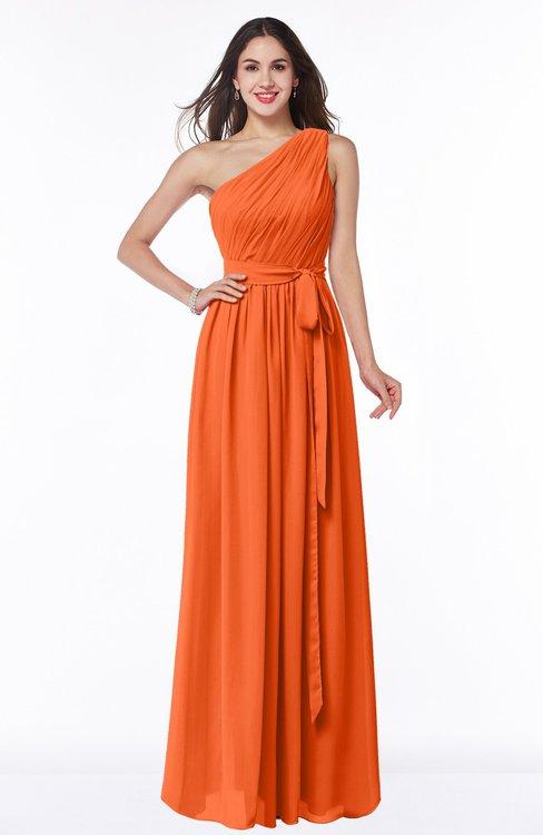 ColsBM Fiona Tangerine Classic A-line Asymmetric Neckline Chiffon Floor Length Sash Plus Size Bridesmaid Dresses