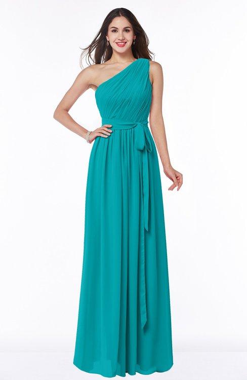 ColsBM Fiona Teal Classic A-line Asymmetric Neckline Chiffon Floor Length Sash Plus Size Bridesmaid Dresses