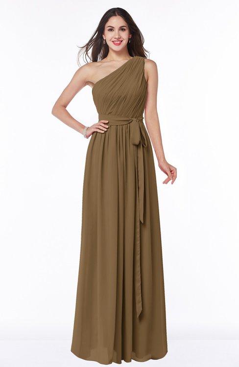 ColsBM Fiona Truffle Classic A-line Asymmetric Neckline Chiffon Floor Length Sash Plus Size Bridesmaid Dresses