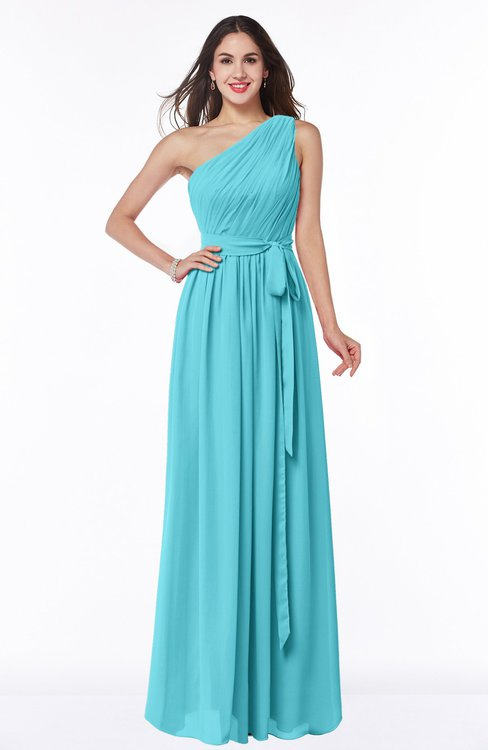 ColsBM Fiona Turquoise Classic A-line Asymmetric Neckline Chiffon Floor Length Sash Plus Size Bridesmaid Dresses