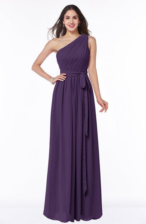 ColsBM Fiona Violet Classic A-line Asymmetric Neckline Chiffon Floor Length Sash Plus Size Bridesmaid Dresses