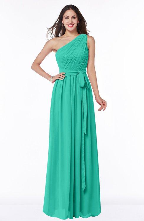 ColsBM Fiona Viridian Green Classic A-line Asymmetric Neckline Chiffon Floor Length Sash Plus Size Bridesmaid Dresses