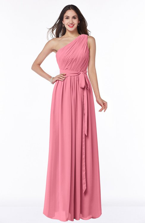 ColsBM Fiona Watermelon Classic A-line Asymmetric Neckline Chiffon Floor Length Sash Plus Size Bridesmaid Dresses
