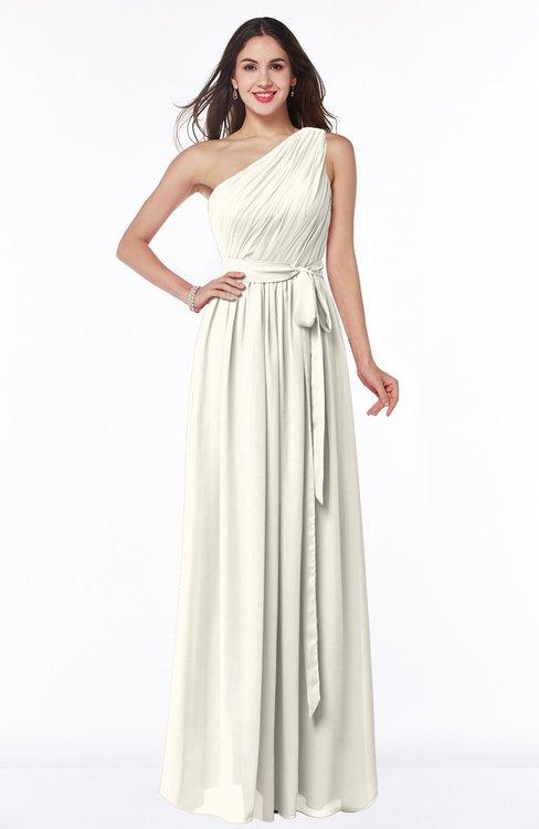 ColsBM Fiona Whisper White Classic A-line Asymmetric Neckline Chiffon Floor Length Sash Plus Size Bridesmaid Dresses