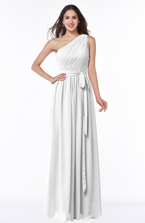 ColsBM Fiona White Classic A-line Asymmetric Neckline Chiffon Floor Length Sash Plus Size Bridesmaid Dresses