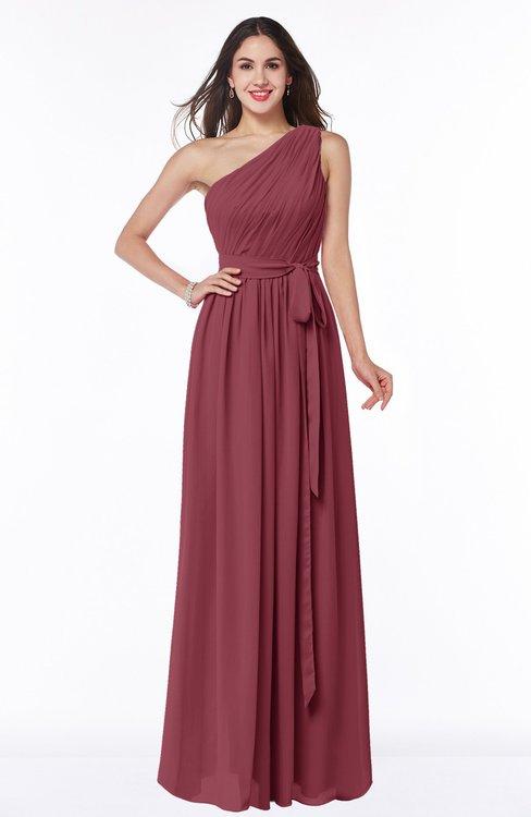 ColsBM Fiona Wine Classic A-line Asymmetric Neckline Chiffon Floor Length Sash Plus Size Bridesmaid Dresses