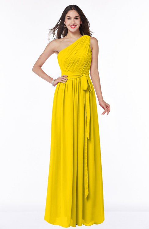 ColsBM Fiona Yellow Classic A-line Asymmetric Neckline Chiffon Floor Length Sash Plus Size Bridesmaid Dresses