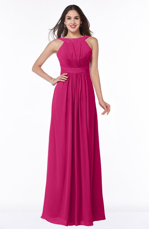 ColsBM Alicia Beetroot Purple Glamorous A-line Thick Straps Sleeveless Chiffon Sash Plus Size Bridesmaid Dresses