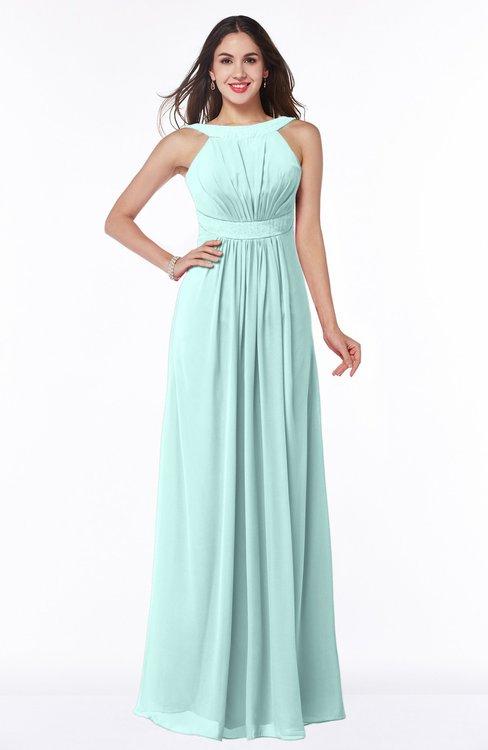 ColsBM Alicia Blue Glass Glamorous A-line Thick Straps Sleeveless Chiffon Sash Plus Size Bridesmaid Dresses