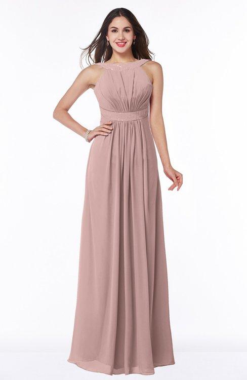 ColsBM Alicia Blush Pink Glamorous A-line Thick Straps Sleeveless Chiffon Sash Plus Size Bridesmaid Dresses