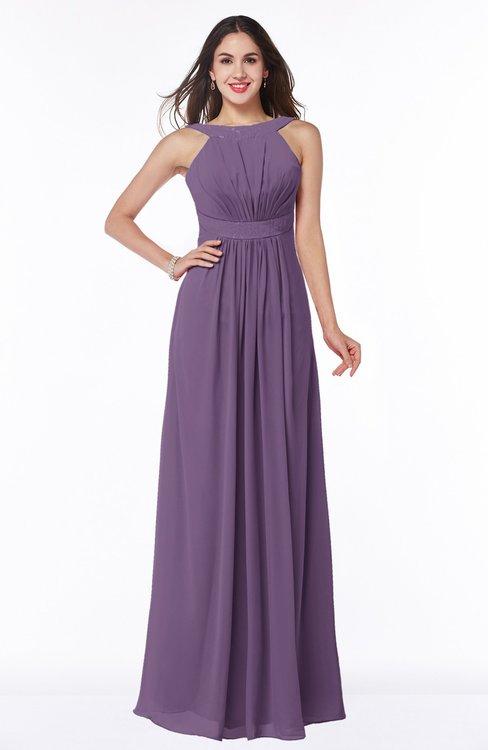 ColsBM Alicia Chinese Violet Glamorous A-line Thick Straps Sleeveless Chiffon Sash Plus Size Bridesmaid Dresses