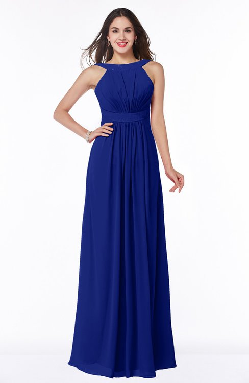 ColsBM Alicia Electric Blue Glamorous A-line Thick Straps Sleeveless Chiffon Sash Plus Size Bridesmaid Dresses