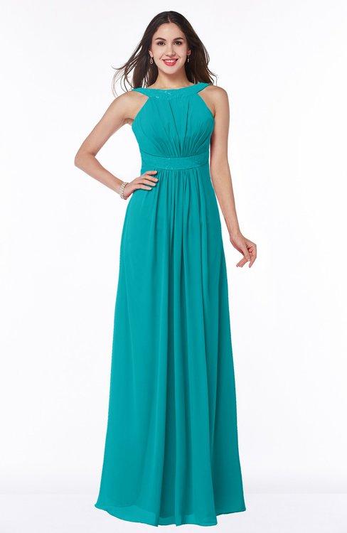 ColsBM Alicia Peacock Blue Glamorous A-line Thick Straps Sleeveless Chiffon Sash Plus Size Bridesmaid Dresses