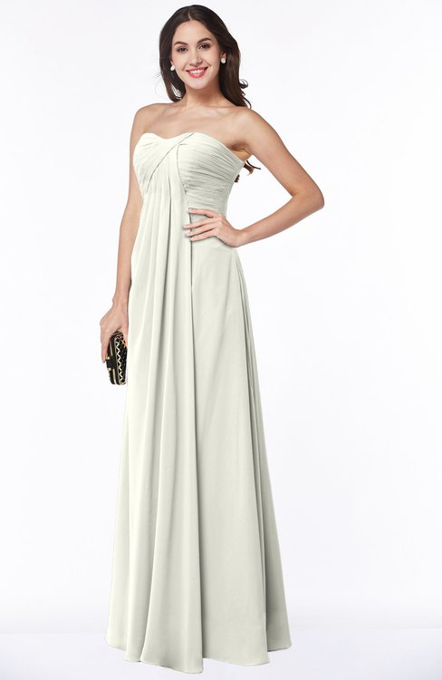 ColsBM Natasha Cream Simple A-line Sleeveless Zip up Chiffon Pleated Plus Size Bridesmaid Dresses
