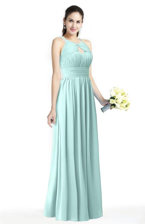 ColsBM Cherish Blue Glass Traditional A-line Jewel Sleeveless Zipper Sash Bridesmaid Dresses