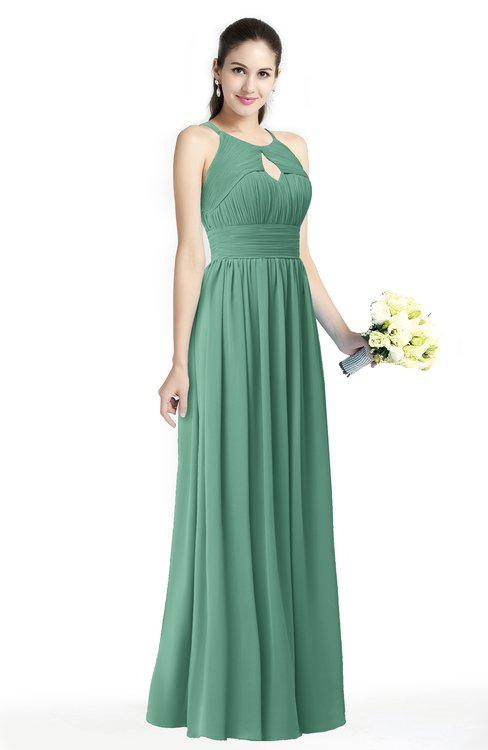 ColsBM Cherish Bristol Blue Traditional A-line Jewel Sleeveless Zipper Sash Bridesmaid Dresses