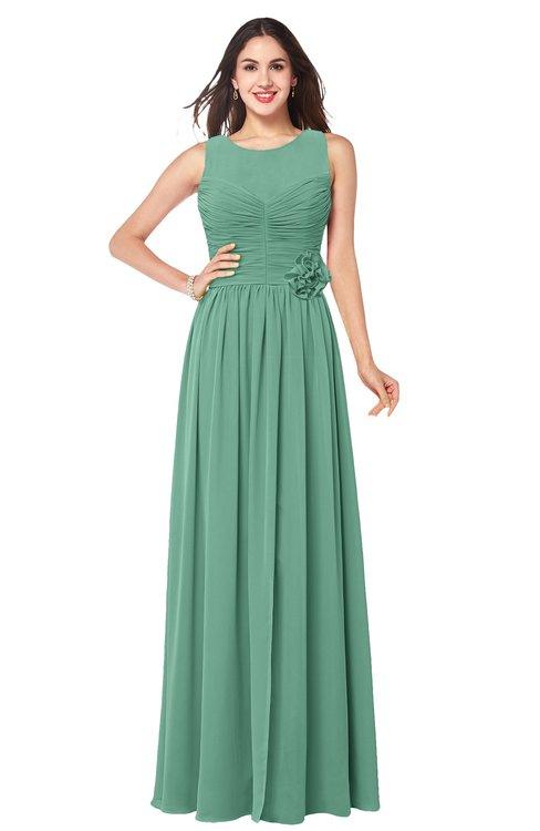 ColsBM Carla Beryl Green Romantic Jewel Zipper Chiffon Pleated Plus Size Bridesmaid Dresses