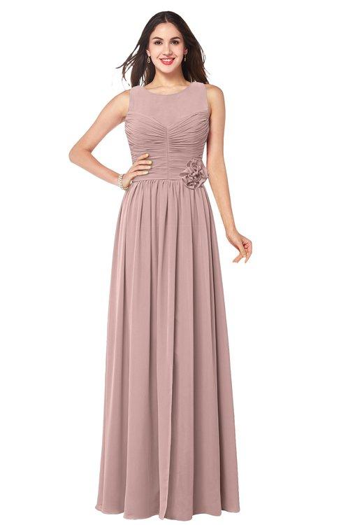 ColsBM Carla Blush Pink Romantic Jewel Zipper Chiffon Pleated Plus Size Bridesmaid Dresses