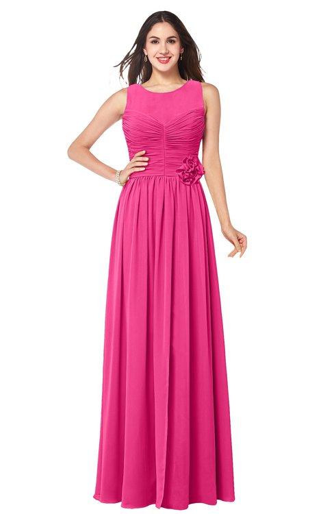 ColsBM Carla Fandango Pink Romantic Jewel Zipper Chiffon Pleated Plus Size Bridesmaid Dresses