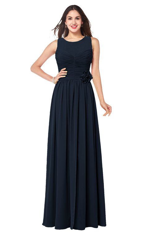 ColsBM Carla Navy Blue Romantic Jewel Zipper Chiffon Pleated Plus Size Bridesmaid Dresses