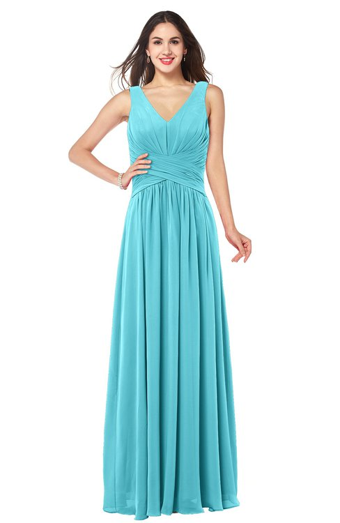 ColsBM Lucia Turquoise Sexy A-line V-neck Zipper Floor Length Ruching Plus Size Bridesmaid Dresses