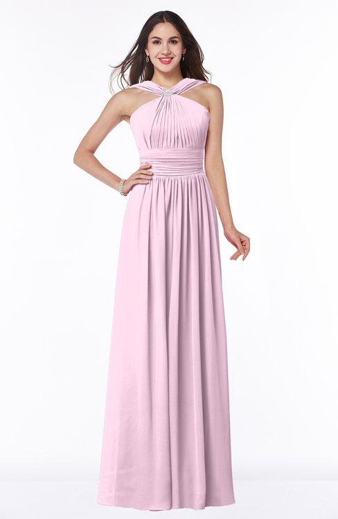 ColsBM Marie Baby Pink Plain A-line Jewel Sleeveless Chiffon Bridesmaid Dresses