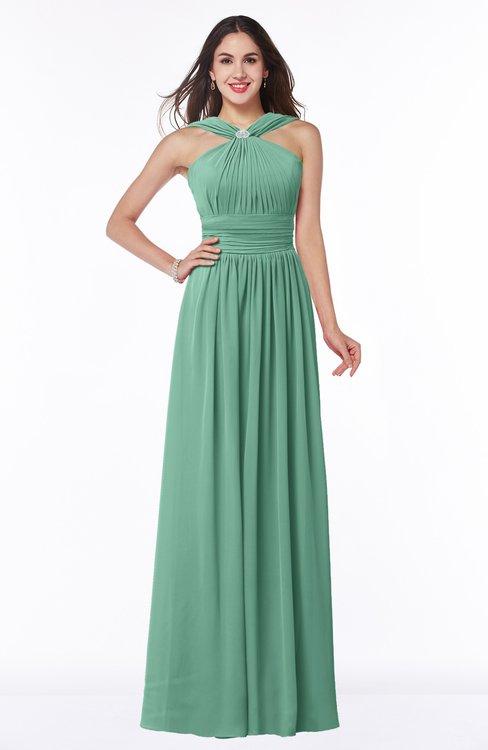 ColsBM Marie Bristol Blue Plain A-line Jewel Sleeveless Chiffon Bridesmaid Dresses