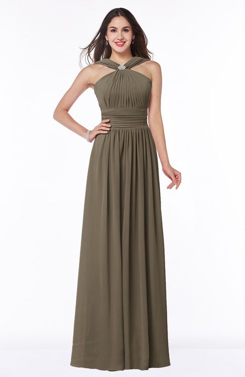 ColsBM Marie Carafe Brown Plain A-line Jewel Sleeveless Chiffon Bridesmaid Dresses