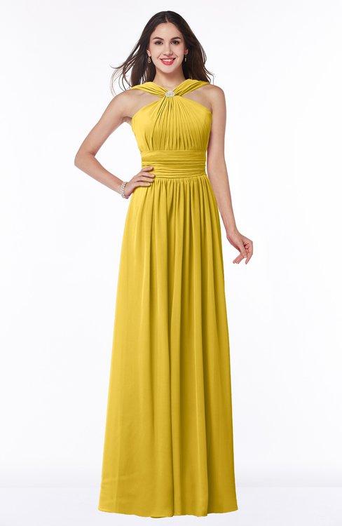 ColsBM Marie Lemon Curry Plain A-line Jewel Sleeveless Chiffon Bridesmaid Dresses