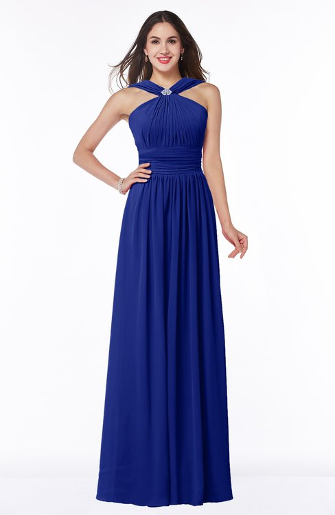 ColsBM Marie Nautical Blue Plain A-line Jewel Sleeveless Chiffon Bridesmaid Dresses