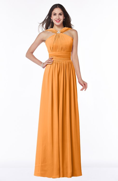 ColsBM Marie Orange Plain A-line Jewel Sleeveless Chiffon Bridesmaid Dresses