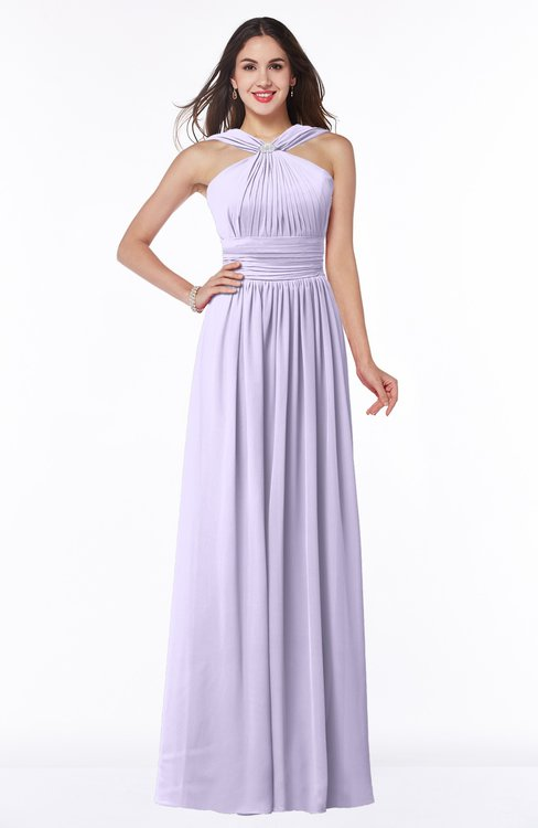 ColsBM Marie Pastel Lilac Plain A-line Jewel Sleeveless Chiffon Bridesmaid Dresses