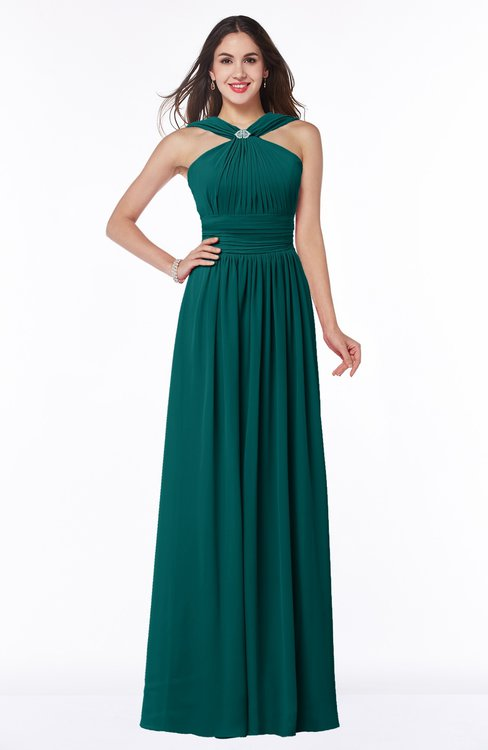 ColsBM Marie Shaded Spruce Plain A-line Jewel Sleeveless Chiffon Bridesmaid Dresses