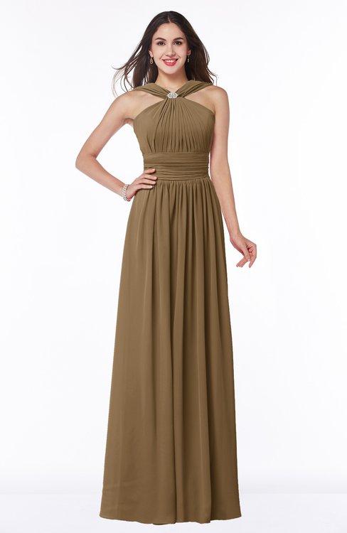 ColsBM Marie Truffle Plain A-line Jewel Sleeveless Chiffon Bridesmaid Dresses