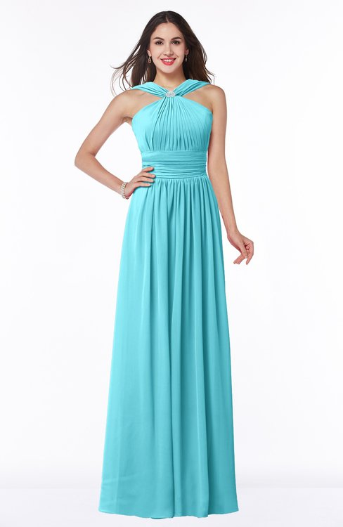 ColsBM Marie Turquoise Plain A-line Jewel Sleeveless Chiffon Bridesmaid Dresses