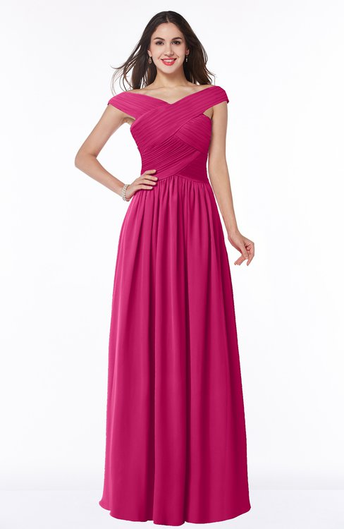 ColsBM Wendy Beetroot Purple Classic A-line Off-the-Shoulder Sleeveless Zip up Floor Length Plus Size Bridesmaid Dresses
