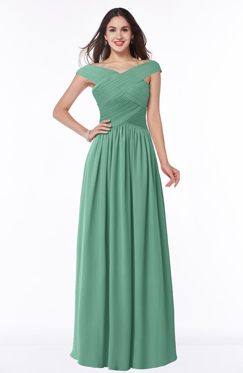 ColsBM Wendy Beryl Green Classic A-line Off-the-Shoulder Sleeveless Zip up Floor Length Plus Size Bridesmaid Dresses
