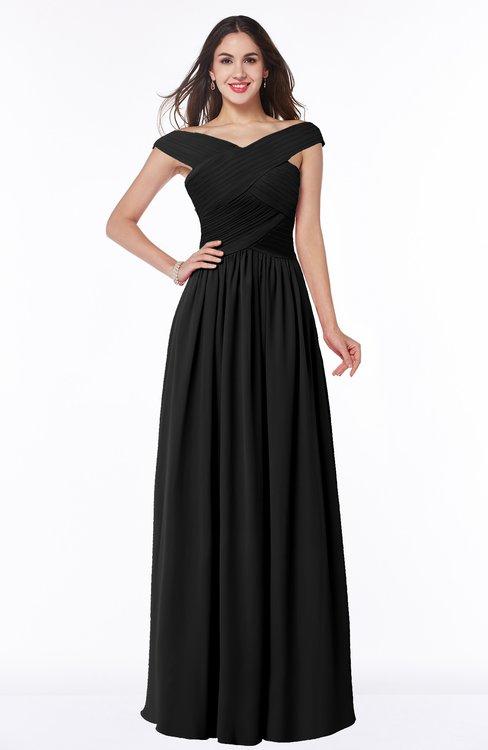 ColsBM Wendy Black Classic A-line Off-the-Shoulder Sleeveless Zip up Floor Length Plus Size Bridesmaid Dresses