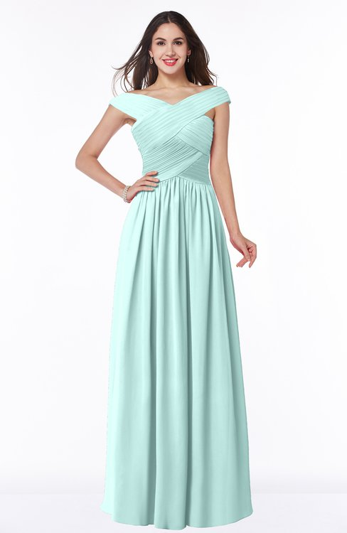 ColsBM Wendy Blue Glass Classic A-line Off-the-Shoulder Sleeveless Zip up Floor Length Plus Size Bridesmaid Dresses