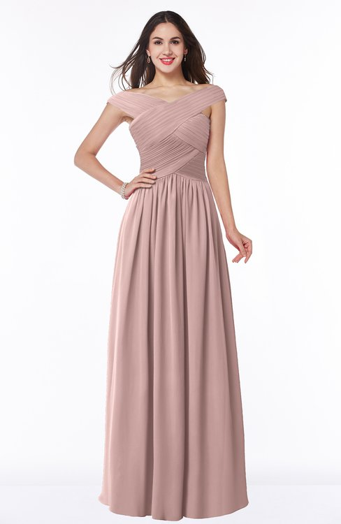 ColsBM Wendy Blush Pink Classic A-line Off-the-Shoulder Sleeveless Zip up Floor Length Plus Size Bridesmaid Dresses