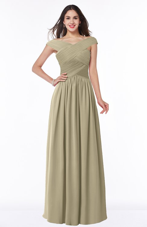 ColsBM Wendy Candied Ginger Classic A-line Off-the-Shoulder Sleeveless Zip up Floor Length Plus Size Bridesmaid Dresses
