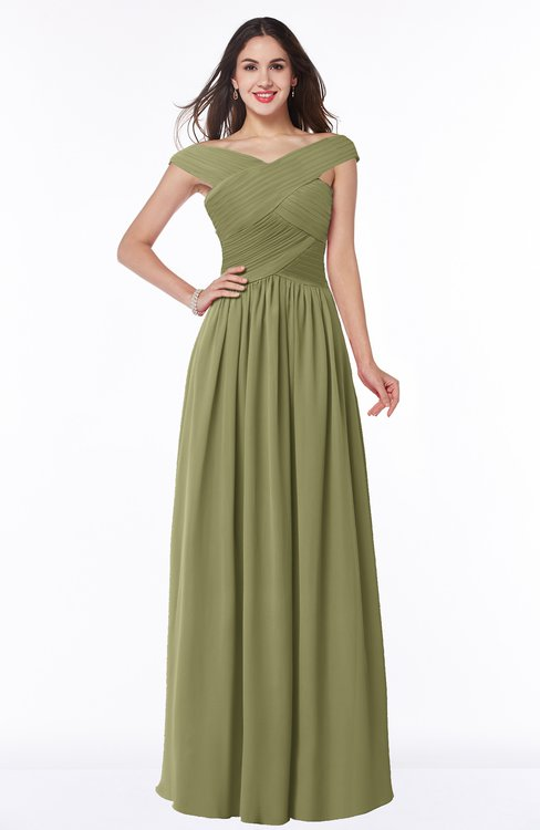 ColsBM Wendy Cedar Classic A-line Off-the-Shoulder Sleeveless Zip up Floor Length Plus Size Bridesmaid Dresses