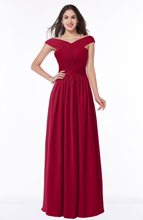ColsBM Wendy Dark Red Classic A-line Off-the-Shoulder Sleeveless Zip up Floor Length Plus Size Bridesmaid Dresses