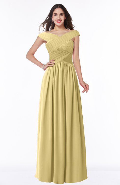 ColsBM Wendy Gold Classic A-line Off-the-Shoulder Sleeveless Zip up Floor Length Plus Size Bridesmaid Dresses
