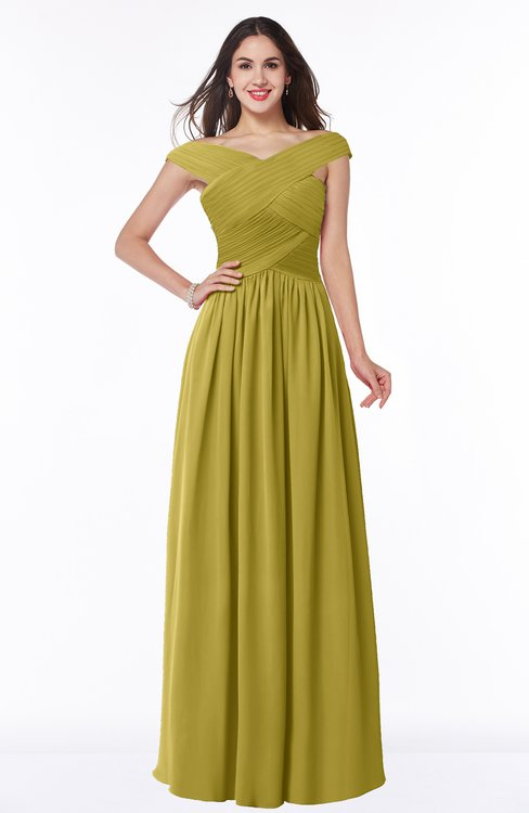 ColsBM Wendy Golden Olive Classic A-line Off-the-Shoulder Sleeveless Zip up Floor Length Plus Size Bridesmaid Dresses