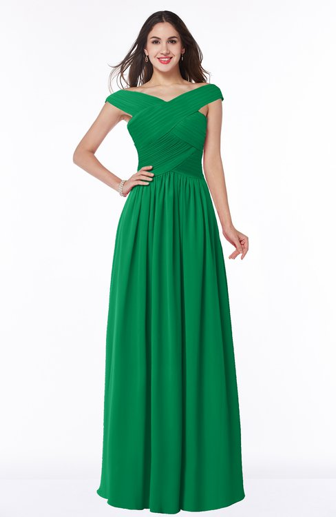 ColsBM Wendy Green Classic A-line Off-the-Shoulder Sleeveless Zip up Floor Length Plus Size Bridesmaid Dresses