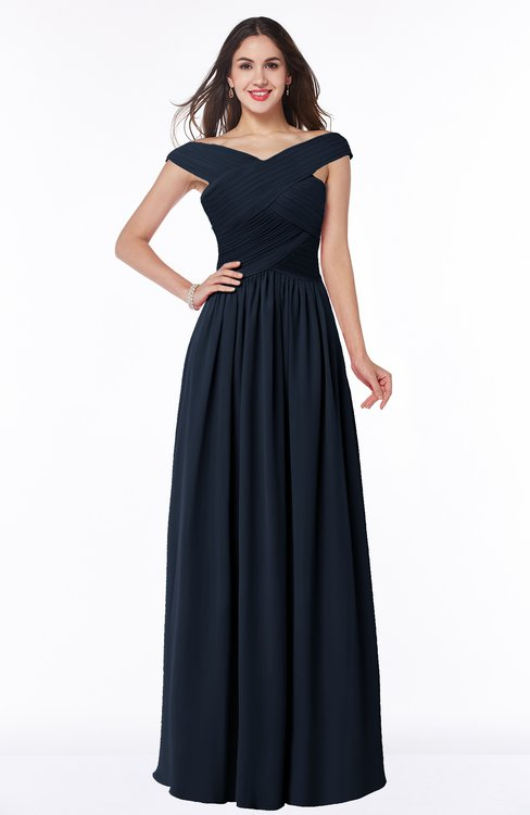 ColsBM Wendy Navy Blue Classic A-line Off-the-Shoulder Sleeveless Zip up Floor Length Plus Size Bridesmaid Dresses